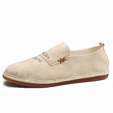 Homens sapatos Couro Ecológico Primavera Outono Conforto Mocassins e Slip-Ons Caminhada para Casual Preto Cinzento Khaki