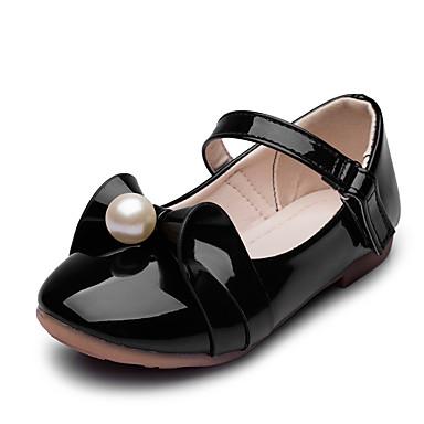 Tyttöjen kengät Tekonahka Kevät Syksy Kengät kukkaistytölle Comfort Tasapohjakengät Tekohelmillä Tarranauhalla varten Häät Kausaliteetti