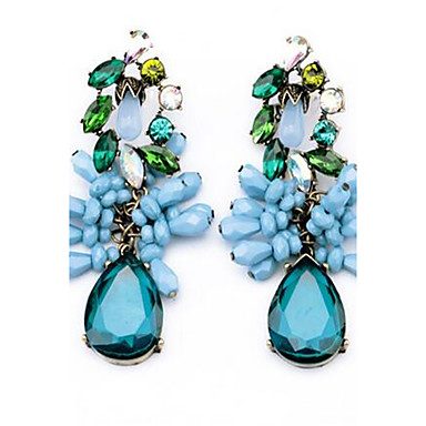 Women's Stud Earrings Rhinestone Imitation Sapphire Fashion Personalized Cute Style Oversized Alloy Flower Leaf Drop Jewelry For Other