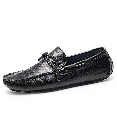 Unisexo Sapatos Pele Napa Outono / Inverno Mocassim Sapatos de Barco Sem Salto Preto / Amarelo / Festas & Noite
