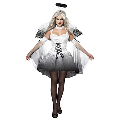 Falden engel Cosplay Kostumer / Festkostume Dame Halloween Festival / Højtider Halloween Kostumer Hvid / Sort Trykt mønster