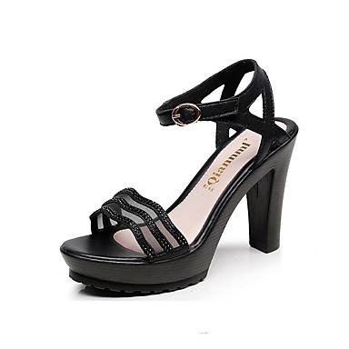 Women's Shoes Leather Spring Summer Basic Pump Heels Stiletto Heel Peep Toe Buckle for Casual Party & Evening Office & Career Gold Black