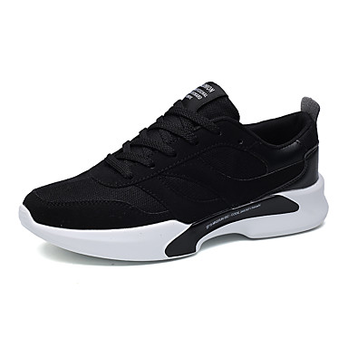 Men's Shoes Fabric Fall Winter Mary Jane Comfort Sneakers Lace-up for Athletic Casual Outdoor Black Black / White Black / Red