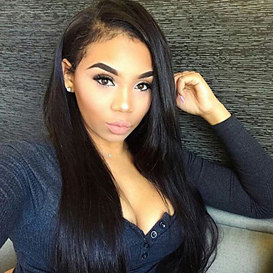 Remy Human Hair Full Lace Wig 360 Frontal 180% Density 100% Hand Tied African American Wig Natural Hairline Short Medium Long Women's
