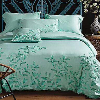 Embroidered 4 Piece Cotton Embossed Cotton 1pc Duvet Cover 2pcs Shams 1pc Flat Sheet