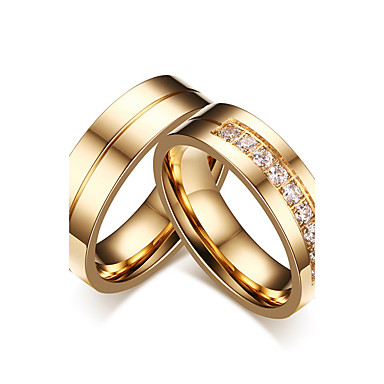 Couple's AAA Cubic Zirconia Couple Rings - Cubic Zirconia Classic, Simple Style, Elegant 5 / 6 / 7 Gold For Wedding / Party Evening / Engagement