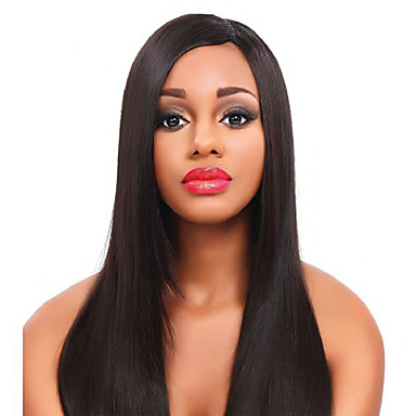 Remy Human Hair Lace Front Wig / Glueless Lace Front Wig Straight / Yaki 130% / 150% Density Natural Hairline / African American Wig / 100% Hand Tied Women's Short / Medium Length Human Hair Lace Wig