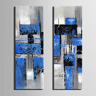 Pintura a Óleo Pintados à mão - Abstrato Retro Tela de pintura / Lona esticada