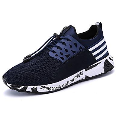 Homens sapatos Tule Primavera Outono Solados com Luzes Conforto Tênis Cadarço para Casual Ao ar livre Preto Cinzento Azul