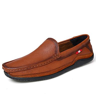 Men's Loafers & Slip-Ons Comfort Spring Summer Fall Cowhide Walking Shoes Casual Split Joint Flat Heel Black Brown Wine Flat