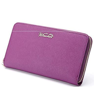 Women Bags All Seasons Cowhide Card & ID Holder for Casual Outdoor Black Purple Fuchsia