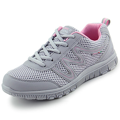 Women's Shoes Tulle Spring Fall Comfort Athletic Shoes Walking Shoes Flat Heel Round Toe Lace-up for Casual Black Dark Grey Light Grey