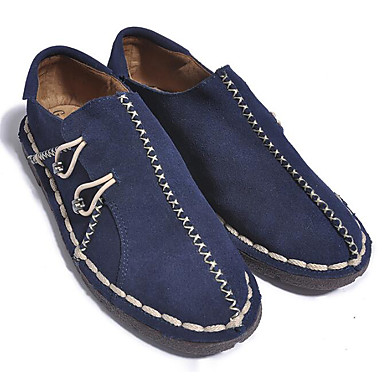 Men's Loafers & Slip-Ons Comfort Spring Cowhide Casual Brown Navy Blue Flat