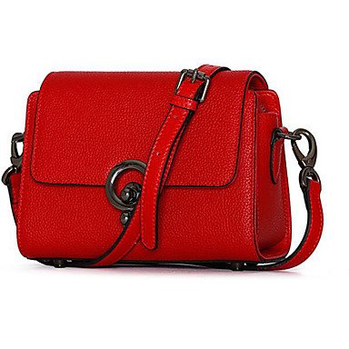 Women Bags Cowhide Crossbody Bag for Casual Outdoor All Seasons Black Red