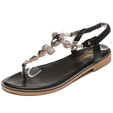 Naiset Sandaalit Comfort Valopohjat PU Kesä Puku Comfort Valopohjat Kristalleilla Tasapohja Musta Vihreä Tasapohja