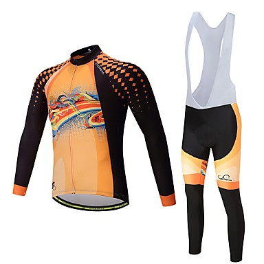 Long Sleeve Cycling Jersey with Bib Tights - Black / Orange Bike Clothing Suit, Quick Dry Polyester, Spandex, Silicon / Lycra