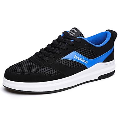 Homens sapatos Couro Ecológico Primavera Outono Solados com Luzes Conforto Tênis Cadarço para Casual Ao ar livre Branco/Preto