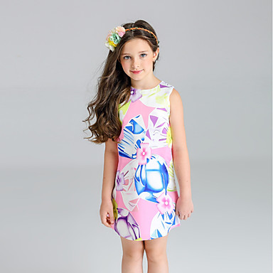 Girl's Floral Dress, Cotton Polyester Spring Summer Sleeveless Floral Blushing Pink