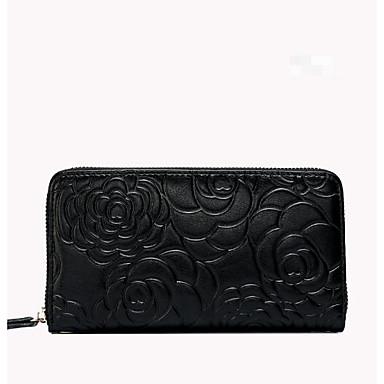 Women Checkbook Wallet Cowhide All Seasons Casual Rectangle Magnetic Black Fuchsia Ruby