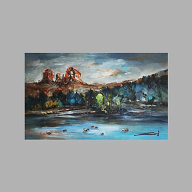 Pintados à mão Paisagem Panorâmico horizontal, Artistíco Abstracto Tela de pintura Pintura a Óleo Decoração para casa 1 Painel