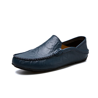 Homens sapatos Pele Primavera Outono Mocassim Conforto Mocassins e Slip-Ons para Casual Ao ar livre Branco Preto Marron Azul Castanho