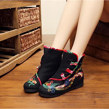 Women's Boot Comfort Fall Canvas Casual Black Red Flat