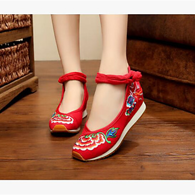 Women's Dance Sneakers Fabric Flat Practice White Red Blue