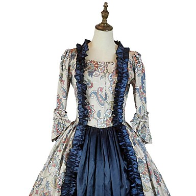 Rococo Victorian Costume Men's Women's Party Costume Ink Blue Vintage Cosplay Padded Fabric Taffeta 3/4 Length Sleeve Asymmetrical
