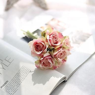 1 Gren Plastikk Roser Bordblomst Kunstige blomster