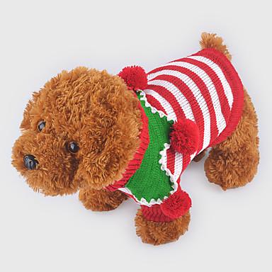 Hund Gensere Hundeklær Jul Stripe Rød Grønn Stripe Kostume For kjæledyr