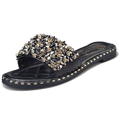 Mulheres Sapatos Couro Ecológico Verão Conforto Solados com Luzes Chinelos e flip-flops Sem Salto Dedo Aberto Lantejoulas para Casual