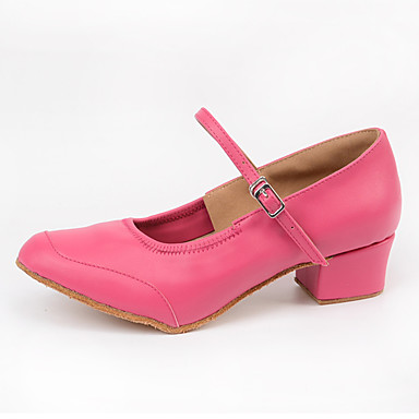 Women's Modern Synthetic Microfiber PU Heel Indoor Buckle Pink 2