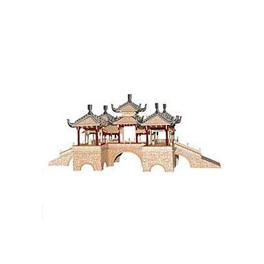 3D építőjátékok Fejtörő Wood Model Népszerű épület Kínai építészet DIY Fa Kínai stílus Gyermek Uniszex Ajándék