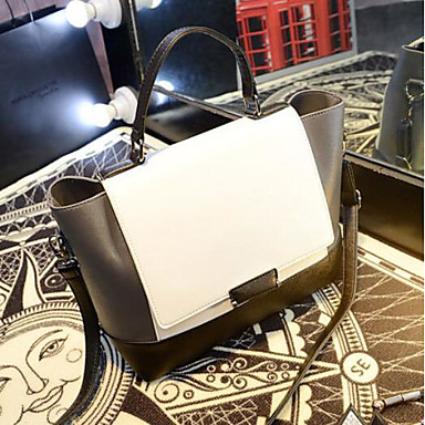 Women Bags All Seasons PU Shoulder Bag with for Casual Outdoor Black/White