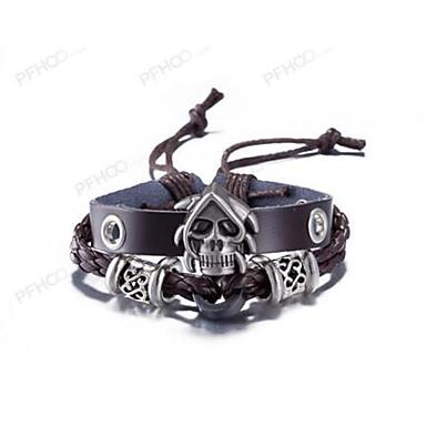 Men's Leather Bracelet - Leather Skull Vintage Bracelet Brown For Dailywear
