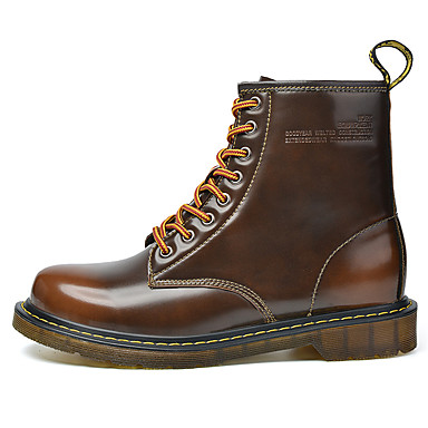 Men's Boots Comfort Snow Boots Fashion Boots Combat Boots Fall Winter Patent Leather Casual Outdoor Office & Career Lace-up Flat Heel Low
