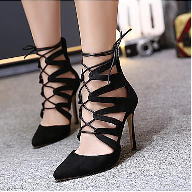 Naiset Kengät PU Kevät Slingback Sandaalit Käyttötarkoitus Kausaliteetti Musta Manteli