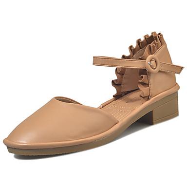 Naiset Sandaalit Comfort Kesä Kumi Kävely Soljilla Block Heel Beesi Kameli Alle 1in