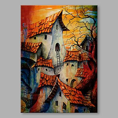 Pintados à mão Abstrato Vertical, Abstracto Alta qualidade Escritório/Negócio Moderno/Contemporâneo Tela de pintura Pintura a Óleo