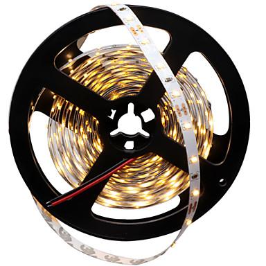 HKV 5m Faixas de Luzes LED Flexíveis 300 LEDs Branco Quente Branco Cortável Auto-Adesivo 12V