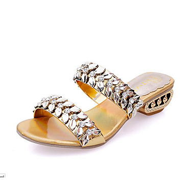Women's Shoes Leather Spring / Summer Low Heel Rhinestone Gold / Black / Silver