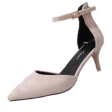Mulheres Sapatos Couro Ecológico Verão Conforto Sandálias Caminhada Salto Agulha Dedo Apontado Presilha para Casual Preto Bege Vermelho