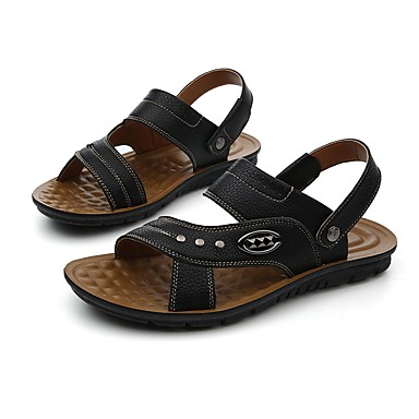 Men's Shoes PU Summer Novelty Sandals For Casual Black Brown