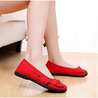 Women's Flats Fabric Flat Practice Red Blue