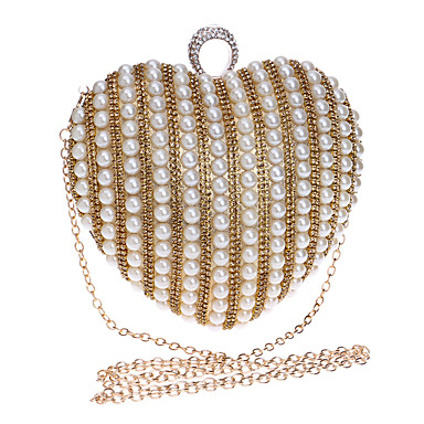 Women Bags Polyester Evening Bag Rhinestone Pearl Detailing for Wedding Event/Party Formal All Seasons Gold Black Silver