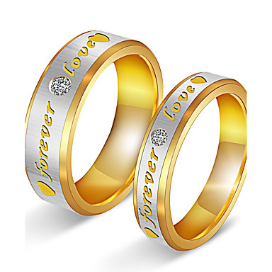 Casal Anéis de Casal Zircônia cúbica Elegant Adorável Zircônia Cubica Aço Titânio Chapeado Dourado Redonda Jóias de fantasia Casamento