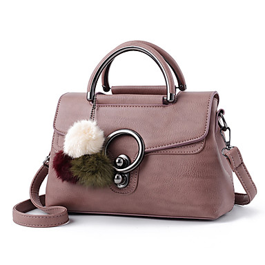 Women Shoulder Bag PU All Seasons Casual Flap Zipper Black Blushing Pink Gray Purple