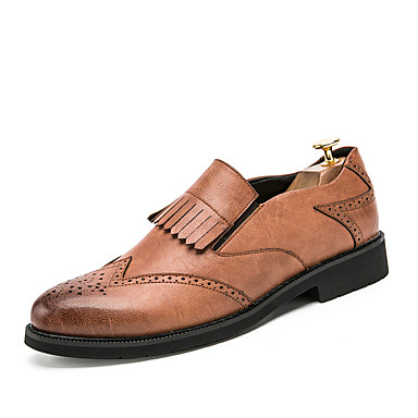 Men's Shoes Pigskin Spring / Summer / Fall Formal Shoes Oxfords Walking Shoes Black / Gray / Brown / Tassel / Wedding / Party & Evening