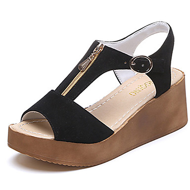 Women's Shoes Suede Summer Comfort Sandals Walking Shoes Wedge Heel Pointed Toe Sparkling Glitter Zipper for Casual Dress Black Khaki