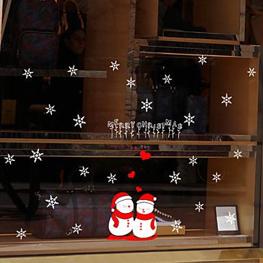 Window Film Window Decals Style Merry Christmas Snowman PVC Window Film